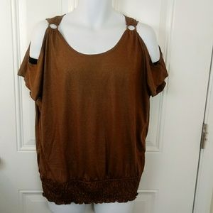 Inspire. Brown cold shoulder maternity blouse
